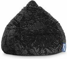 Sitzsack XL aus Webplüsch in schwarz, Beanbag Fluffy XL, Material 100 % Polyester, Füllung aus 100 % EPS-Perlen, 220 l Volumen, Maße B/H ca. 70/110 cm
