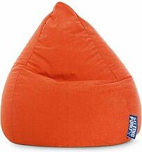 Sitzsack XL in orange, Beanbag Easy XL, Material 100 % Polyester Microfaser, Füllung aus 100 % EPS-Perlen, 220 l Volumen, Maße B/H ca. 70/110 cm