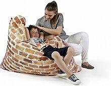 Sitzsack XL Tuli Sofa 100% Polyester 130 x 110 x 25 300l Made in EU Manufaktur Sessel mit extra starken Nähten verschiedene Farben und Motiven Einschichtig - Sitzsäcke - Bodenkissen Sitzkissen Kissen Sessel Sitzsofa 100% Polyester Ziegel