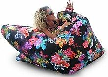 Sitzsack XL Tuli Sofa 100% Polyester 130 x 110 x 25 300l Made in EU Manufaktur Sessel mit extra starken Nähten verschiedene Farben und Motiven Einschichtig - Sitzsäcke - Bodenkissen Sitzkissen Kissen Sessel Sitzsofa 100% Polyester Amelia
