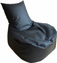 Sitzsack XXL / Sitz Sofa Schwarz (Kunstleder/ H:85cm, B:81cm / 360l EPS-Perlen)