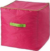 Sitzwürfel, 40 cm, Sitzpouf aus Polyester, wasserdicht, fuchsia