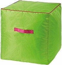 Sitzwürfel, 40 cm, Sitzpouf aus Polyester, wasserdicht, grün
