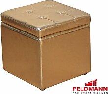 Sitzwürfel 5729 Hocker mit Stauraum - Farbe wählbar (goldfarben Kunstleder)