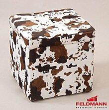 Sitzwürfel 5729 Hocker mit Stauraum - Farbe wählbar (Kuhfell Microfaser)