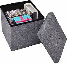Sitzwürfel Aufbewahrungsbox Sitzhocker Faltbox Sitzbank faltbar multifunktional 38x38x38cm (Grau)