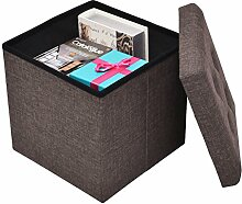 Sitzwürfel Aufbewahrungsbox Sitzhocker Faltbox Sitzbank faltbar multifunktional 38x38x38cm (Braun)