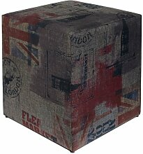 Sitzwürfel bedruckt GB Flagge dunkel 35 cm x 35 cm x 42 cm