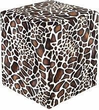 Sitzwürfel Fell-Imitat Giraffe