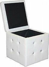 Sitzwürfel Fußhocker Weiß Hocker mit Deckel und Strasssteinen