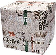 Sitzwürfel Hocker Cube in Coffe Struktur Webstoff bedruckt Print Design Vintage