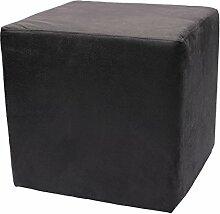 Sitzwürfel Hocker Cube in Madagaskar Strukturstoff Velour Wildleder Imitat (16 - Black)