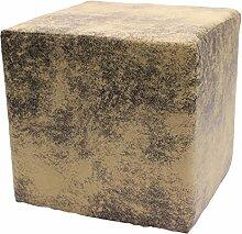 Sitzwürfel Hocker Cube in Madagaskar Strukturstoff Velour Wildleder Imitat (01 - Sand)