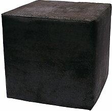 Sitzwürfel Hocker Cube in Madagaskar Strukturstoff Velour Wildleder Imitat (18 - Deep Black)