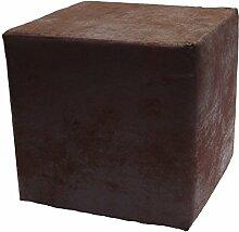 Sitzwürfel Hocker Cube in Madagaskar Strukturstoff Velour Wildleder Imitat (04 - Dark Brown)