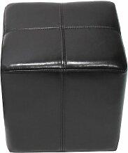 Sitzwürfel Hocker Sitzhocker Onex, LEDER, 36x36x36cm ~ schwarz