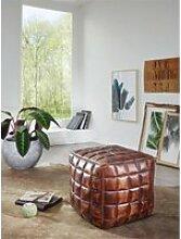Sitzwürfel mit Echtleder braun 39 x 41 x 39cm