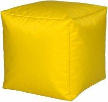 Sitzwürfel Nylon Gelb groß 40 x 40 x 40 mit Füllung