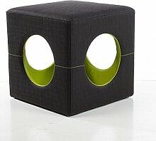 Sitzwürfel Polsterhocker Retro 40x40x40 | Fuß-Hocker Stoff besch. Schwarz Grün