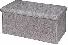 Sitzwürfel Sitzhocker Hocker Truhe Aufbewahrungsbox CAMILA, Leinenoptik in grau, faltbar mit Deckel
