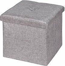 Sitzwürfel Sitzhocker Hocker Truhe Aufbewahrungsbox RENATA, Leinenoptik in grau, faltbar mit Deckel