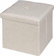 Sitzwürfel Sitzhocker Hocker Truhe Aufbewahrungsbox RENATA, Leinenoptik in beige, faltbar mit Deckel