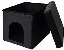 Sitzwürfel Sitzhocker Sitzbank Sitztruhe Truhe Aufbewahrungsbox faltbar, Größe:38x38x38;Farbe:Hundebox schwarz