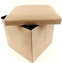 Sitzwürfel Sitzhocker Stauraum Hocker Faltbar Aufbewahrung (40 x 40 x 36 cm Beige)