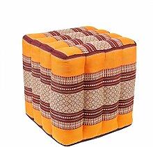 Sitzwürfel Stoffhocker Sitzkissen Bodenkissen Sitzhocker Fußhocker Cube Hocker Würfel Thai Motiv 40 x 40 x 40 cm Baumwolle Kapok, Farbe:Orange