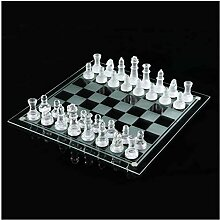 Siunwdiy Glass Chess Game Set mattiertes polierte