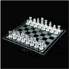 Siunwdiy Glasschachspiel Set, mattiert/poliert
