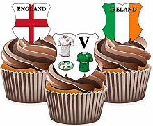 SIX Nations Rugby England v Ireland 12Essbare Cup Cake Wafer Stück, vorgestanz