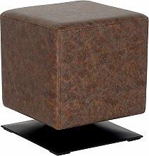 SixBros. Sitzwürfel Sitzhocker Hocker Gepolstert Vintage Braun - M-61352/4056
