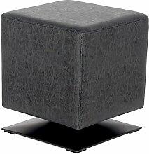 SixBros. Sitzwürfel Sitzhocker Hocker Gepolstert Vintage Schwarz - M-61352/4055