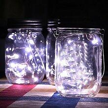 sixcup 10LED 1m Lichterkette solarbetrieben für Mason Jar Deckel Einsatz Farbwechsel Garten Decor–Knopfzelle Powered Silber Kupfer Draht Mini Fairy weiß Lichterkette–Lampe in Vorratsglas