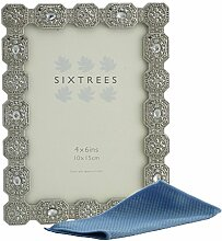 Sixtrees Bilderrahmen, antik, silberfarben, mit