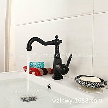 SJIN Europäische schwarze, heißes und kaltes Wasser Waschbecken Waschbecken Sitzbank Töpfe antike Einloch voll Kupfer Wasserhahn