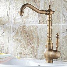 SJIN Küche retro Wasserhahn voll Kupfer Waschbecken mit warmen und kalten Wasserhahn Becken Becken kann verwendet werden, um zu drehen