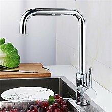 SJIN Volle Kupfer Küche Waschbecken mit warmen und kalten Wasserhahn Waschbecken aus Edelstahl drehbar retro Wasserhahn.