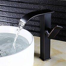 SJIN Volle Kupfer schwarz Badezimmer Waschbecken mit warmen und kalten retro Wasserhahn bad Waschbecken unter dem Waschbecken