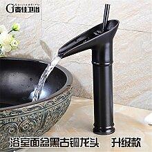 SJIN Volle Kupfer Wasserhahn Waschtisch Waschbecken Waschtisch Armatur Waschbecken Waschbecken mit warmen und kalten retro Wasserhahn schwarz