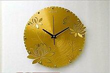 SJMM 40*40 cm Mode kreativ titan silber Aluminium Legierung silber Pfingstrose Wanduhr Luxus Home Decoration, gold