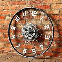 SJMM 60*60cm Retro große Fahrrad Rad Wand Wanduhr