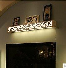 SJMM Geschnitzte Regal Wandleuchte Innen Dekoration Spiegel vorne Licht Nachttisch Holz LED Wandleuchte 0,6m für miroor Schlafzimmer Badezimmer Beleuchtung, einen Stil, Warm White (2700-3500K)(#JD-0401)