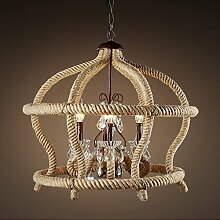 SJUN Amerikanische Industrielle Kreative Seil Schmiedeeiserne Leuchter Crystal Retro-Lampe Wohnzimmer 75 * 65Cm