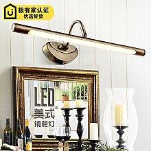 SJUN Amerikanischen Kontinentalen Spiegel Spiegel Lampe Led Licht Bad Badezimmer Spiegel Schrank Licht Schminktisch Vintage Garten Spiegel Lampe,A/10W (Warmweiß) 62Cm