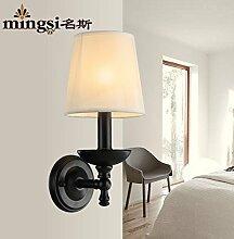 SJUN-amerikanischen Kreative Ländliche Einfachheit Wandleuchte aus Eisen Nachttischlampe Lampe Schatten
