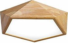 SJUN Deckenleuchte Holz Wohnzimmer Lampe Flach