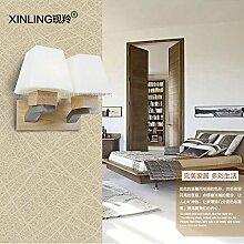 SJUN-einfache LED-Wandleuchte Holz Wohnzimmer Flur Schlafzimmer Hotel Moderne Lampe Nachttischlampe,B