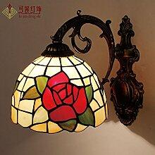 SJUN Einzelnen Wand Lampe Nachttischlampe Rosa Gartenrosen Spiegel Beleuchtung Leuchte